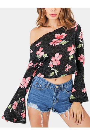 YOINS Floral Print Off The Shoulder Long Sleeves Blouses