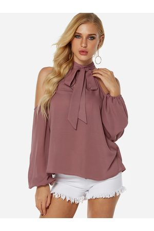 YOINS Lace-up Design Halter Lantern Sleeves Blouse