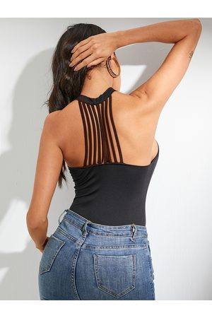 YOINS Black Backless Design Halter Cami