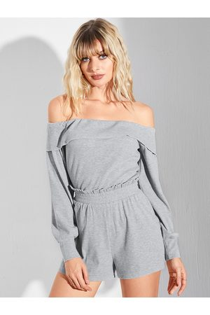 YOINS Grey Off The Shoulder Overlay Long Sleeves Top