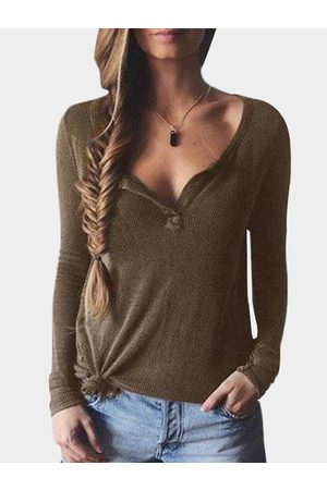 YOINS Brown Plunge Casual Design Blouse with Long Sleeves