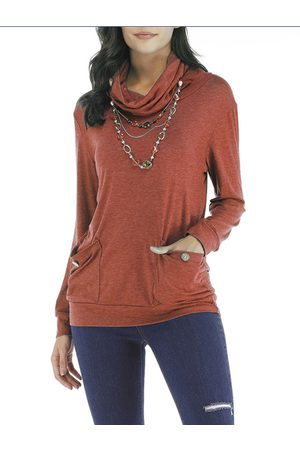 YOINS Drape Sagging Long Sleeves Blouses With Patch Pockets