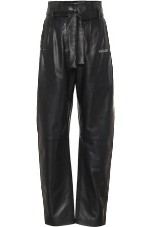 OFF-WHITE High-rise straight leather pants