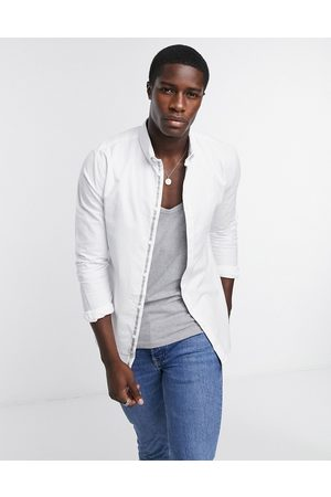 River Island Long sleeve muscle oxford shirt in