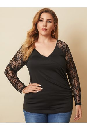 YOINS Plus Size V-neck Wrap Design Lace Long Sleeves Tee