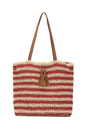 YOINS Straw-Woven Striped Lined Beach Bag in with Tassel Drawstring