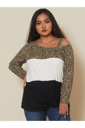 YOINS Plus Size Cold Shoulder Leopard Long Sleeves Tee