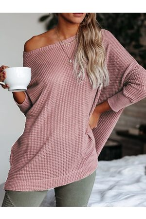 YOINS Pink Strapless Design Long Sleeves Knit Tops
