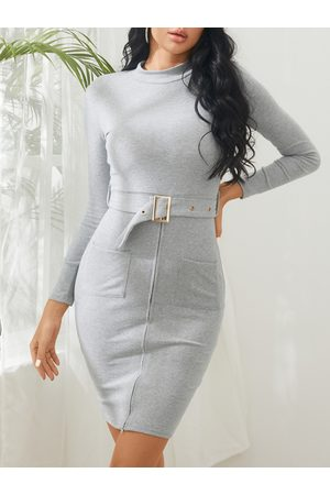 YOINS Zipper Front Two Pockets Bodycon Dress with Belt