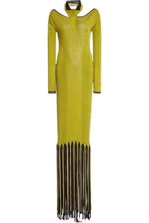 Bottega Veneta Fringe-Trimmed Ribbed-Knit Maxi Halter Dress