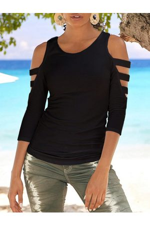 YOINS Women Long Sleeve - Black Cut Out Cold Shoulder 3/4 Length Sleeves Tee