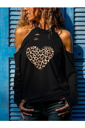 YOINS Black Leopard Heart Ripped Cold Shoulder Long Sleeves Tee