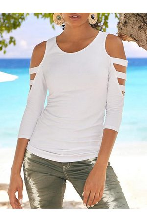 YOINS White Cut Out Cold Shoulder 3/4 Length Sleeves Tee