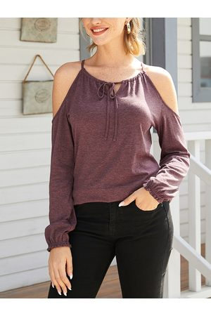 YOINS Burgundy Cut Out Cold Shoulder Long Sleeves Tee