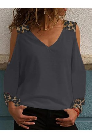 YOINS Grey Leopard Patchwork Cold Shoulder Long Sleeves Tee