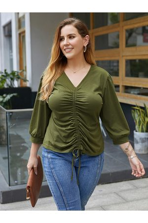 YOINS Plus Size V-neck Tie-up Design 3/4 Length Sleeves Tee