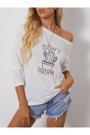 YOINS Casual Letter Graphic One Shoulder Long Sleeves Tee