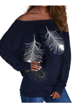 YOINS Navy Feather Print Cold Shoulder Long Sleeves Tee