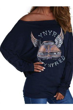 YOINS Navy Graphic & Letter Print Cold Shoulder Long Sleeves Tee