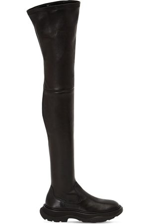 Alexander McQueen 45mm Tread Leather Over-the-knee Boots