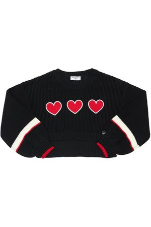 MONNALISA Knit Sweater W/ Heart Patch