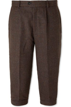 KINGSMAN Men Formal Pants - Oxford Cropped Tapered Wool-Tweed Suit Trousers