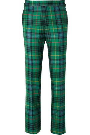 KINGSMAN Men Formal Pants - Slim-Fit Checked Wool-Flannel Trousers