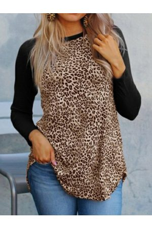 YOINS Leopard Patchwork Crew Neck Long Sleeves Tee