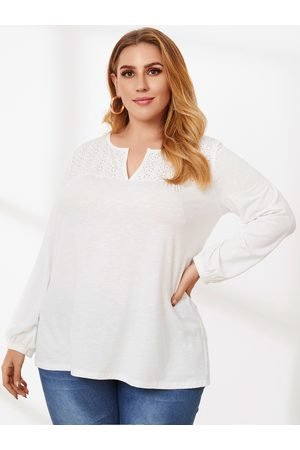 YOINS Plus Size V-neck Hollow Design Long Sleeves Tee