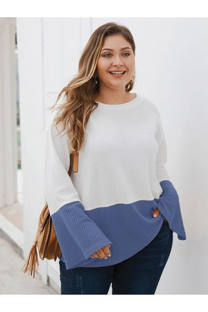 YOINS Plus Size Patchwork Round Neck Long Sleeves Waffle Knit Sweater