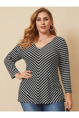YOINS Plus Size V-neck Striped Long Sleeves Tee