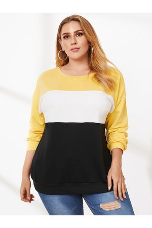 YOINS Plus Size Crew Neck Patchwork Long Sleeves Tee