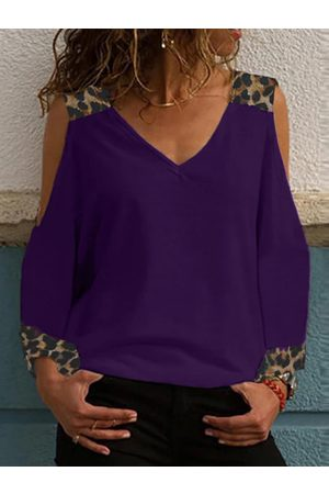 YOINS Purple Leopard Patchwork Cold Shoulder Long Sleeves Tee