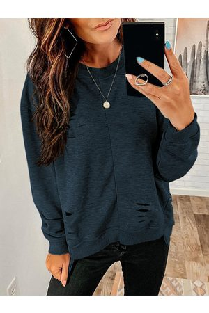 YOINS Casual Random Ripped details Round neck Sweater