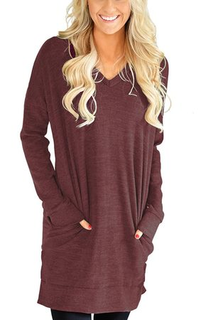 YOINS Women Long Sleeve - V-neck Long Sleeves Tee
