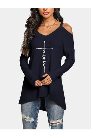 YOINS Navy Letter Print Cold Shoulder Long Sleeves Tee
