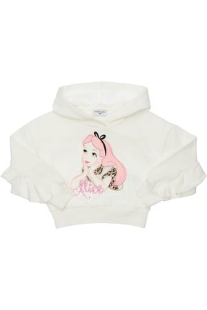 MONNALISA Alice Patch Cotton Sweatshirt