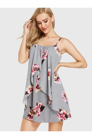 YOINS Crossed Front Floral Print Two Piece Outfits