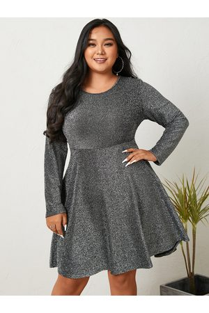 YOINS Plus Size Crew Neck Glitter Cut Out Long Sleeves Mini Dress