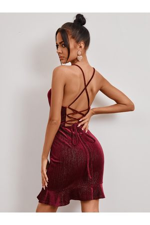 YOINS Burgundy Glitter Backless Criss-cross Lace-up V-neck Sleeveless Dress