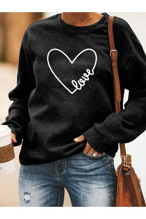 YOINS Black Heart Print Crew Neck Long Sleeves Sweatshirt