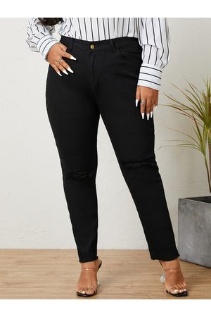 YOINS Plus Size Pocket Design Button Design Pants