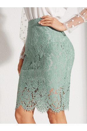 YOINS Green Lace Slit Design High-Waisted Skirt