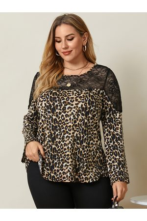 YOINS Plus Size Crew Neck Patchwork Leopard Lace Long Sleeves Tee