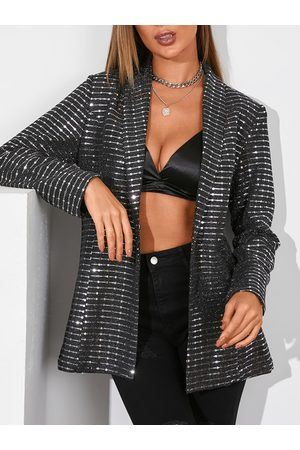 YOINS Black Glitter Sequins Embellished Lapel Collar Long Sleeves Blazer