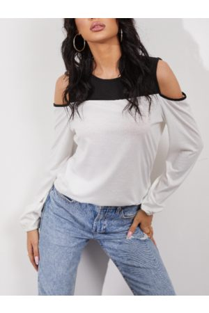 YOINS White Patchwork Cold Shoulder Long Sleeves Blouse