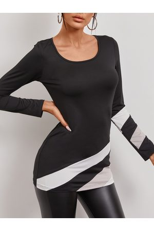 YOINS Black Patchwork Round Neck Long Sleeves Tee