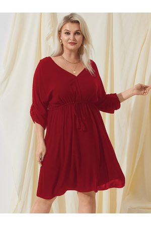 YOINS Plus Size V-neck Tie-up Design Long Sleeves Midi Dress