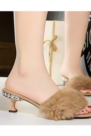 YOINS Rhinestone Stiletto Fluff Slippers