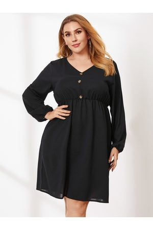 YOINS Plus Size V-neck Elastic Strap Long Sleeves Mini Dress